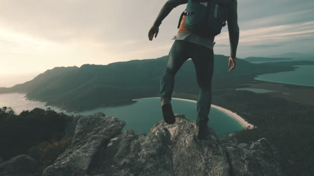 nothing beats climbing a mountain to see the sunrise - trekking video stock e b–roll