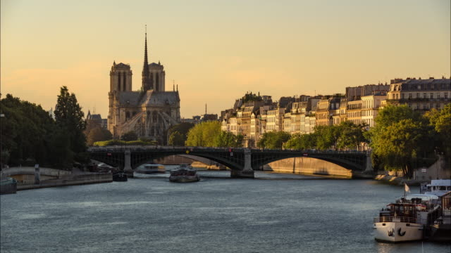 Notre Dame de Paris Cathedral, Ile Saint Louis and the Seine River on a Summer afternoon - vídeo