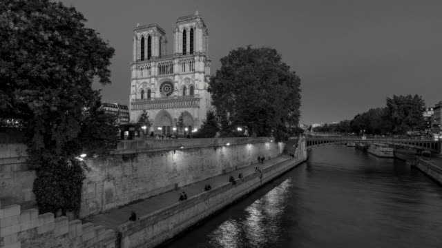 Notre Dame de Paris Cathedral with the Seine River at twilight in Black & white. Paris, France - vídeo
