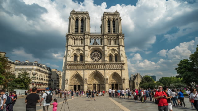notre dame hyper-lapse, paris - cathedrals stock videos & royalty-free footage