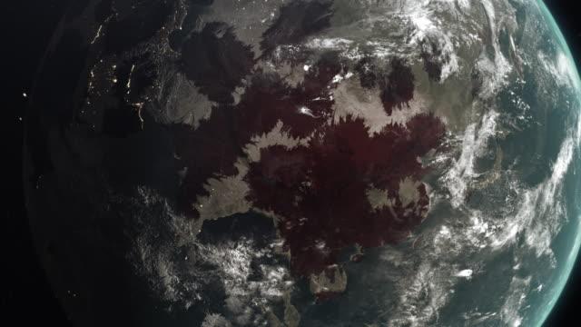 新型冠狀病毒ncov在世界各地傳播,全球流感疫情傳遍各大洲,全球致命病毒感染,柯洛納大流行危機導致全球數千人死亡,衛星查看流感病毒影響地區。 - 危機 個影片檔及 b 捲影像