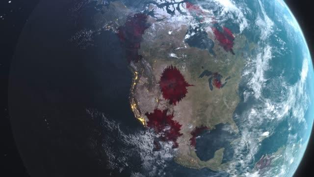 vídeos de stock, filmes e b-roll de novo coronavirus ncov espalhando os estados unidos e todo o mundo, arma bioquímica espalhando animação, infecção viral mortal global, crise pandêmica corona matando milhares em todo o mundo, visão de satélite da gripe e áreas afetadas apocalipse. - dispersa