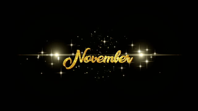 November Beautiful golden greeting Text Appearance from blinking particles with golden fireworks background. video