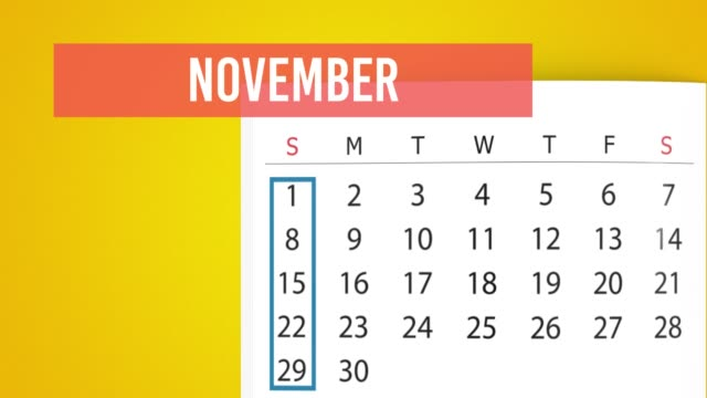 2020 ноябрь календарь поворот страницы анимация на фоне желтого цвета в разрешении 4k - ноябрь стоковые видео и кадры b-roll