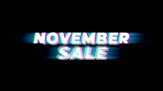 11 월 판매 텍스트 빈티지 글리치 효과 프로모션. - black friday 스톡 비디오 및 b-롤 화면