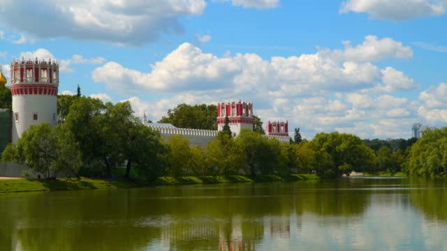 Novodevichy monastery on the shore of the pond video