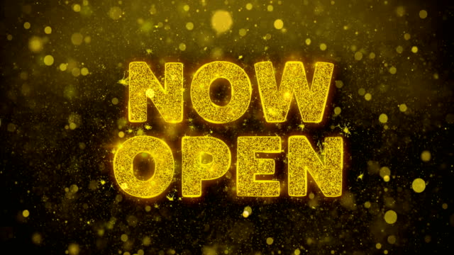 Now Open Text on Golden Glitter Shine Particles Animation.