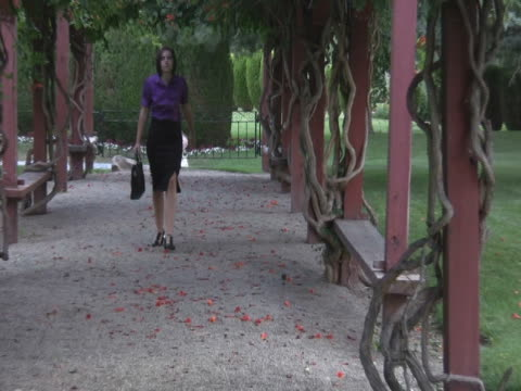 vídeos de stock e filmes b-roll de ntsc jovem mulher andar ao longo de um caminho com brife caso - só mulheres jovens