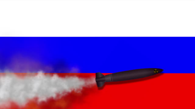 Nuclear Missile on the Background Flag of Russia video