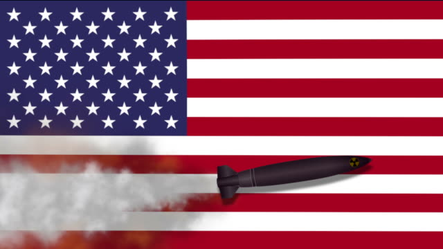 Nuclear Missile on the Background Flag of USA video