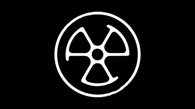 animazione della linea della lavagna nucleare con alpha - reattore nucleare video stock e b–roll