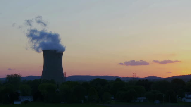 Nuclear Power Plant Single Smoke Stack 02 video
