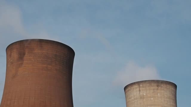 Nuclear power plant towers video