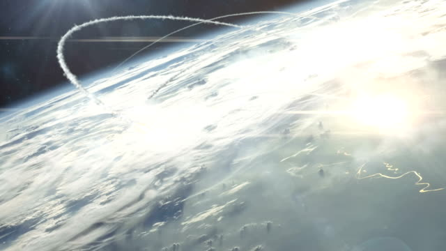 Nuclear War From Orbit Lovely 4K clip showing a nuclear war as seen from orbit. Missiles form both sides arc high into the sky before striking their target and leaving untold devastation in their wake. It's the beginning of the end! nuclear missile stock videos & royalty-free footage
