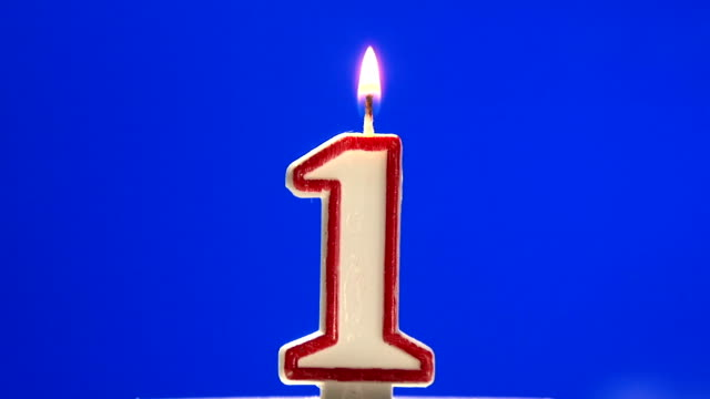 Number 1 - one birthday candle burning video