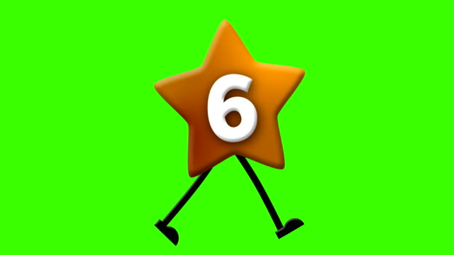 Number 6 in Latin alphabet and walking character on greenscreen