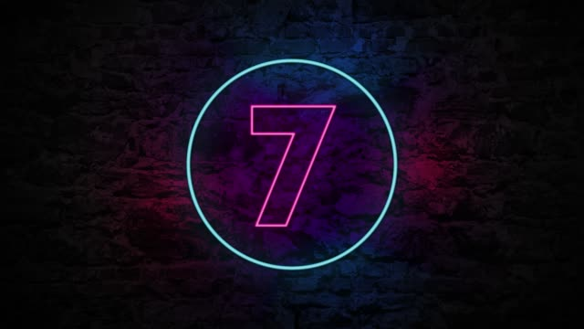 Number 7 Neon Sign On Brick Background 4K Animation