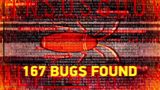 Number of bugs found on computer, virus infection, trojan, hacking, malware