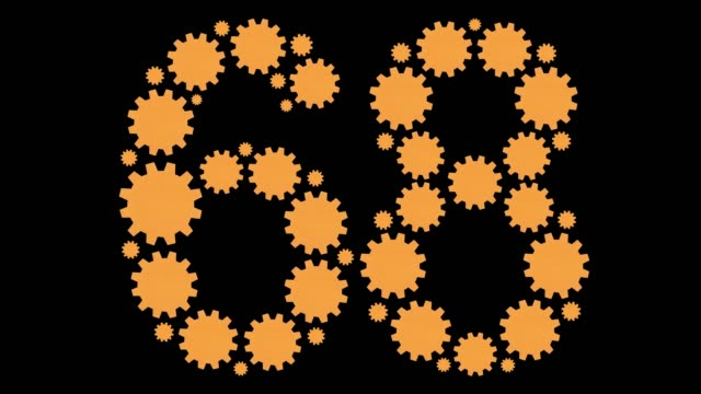 Number sixty eight Yellow turning cogs shaping the number sixty eight less than 10 seconds stock videos & royalty-free footage