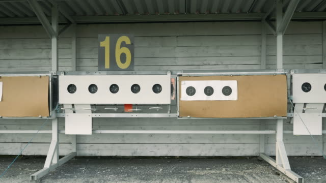 Numbering of targets in biathlon, close up. Targets for sports shooting. Empty shooting range at biathlon. Shooting biathlon target