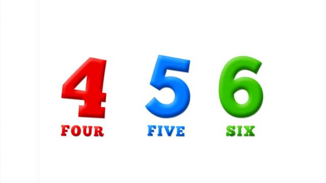 nummern 4, 5, 6 im lateinischen alphabet auf einem weißen notizbuch - comic font stock-videos und b-roll-filmmaterial