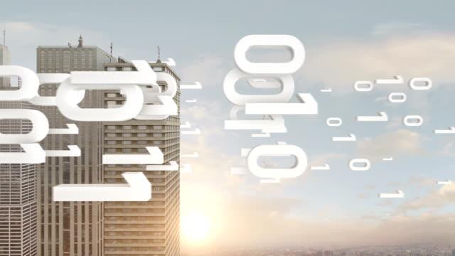 Numbers Around Skyscraper Symbolizes Cloud Computing video