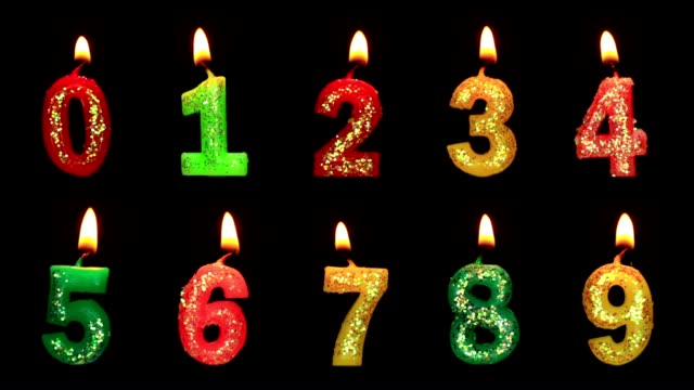 Numbers in the form of candles video
