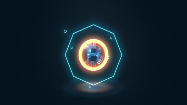 多数のドットが集まり、ビットコイン通貨記号、低ポリゴンウェブを作成します - ローポリモデリング点の映像素材/bロール
