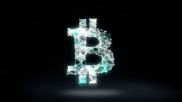 Numerous dots gather to create a Bitcoin currency sign, low-polygon web.