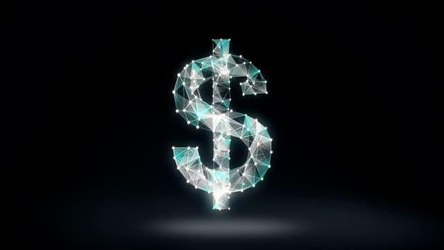 zahlreiche punkte sammeln um eine währung dollarzeichen, low-polygon-web zu erstellen. - woman and polygon stock-videos und b-roll-filmmaterial