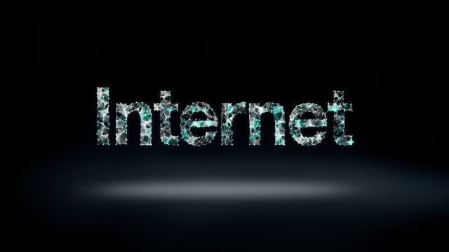 Numerous dots gather to create a 'Internet' typo, low-polygon web. video