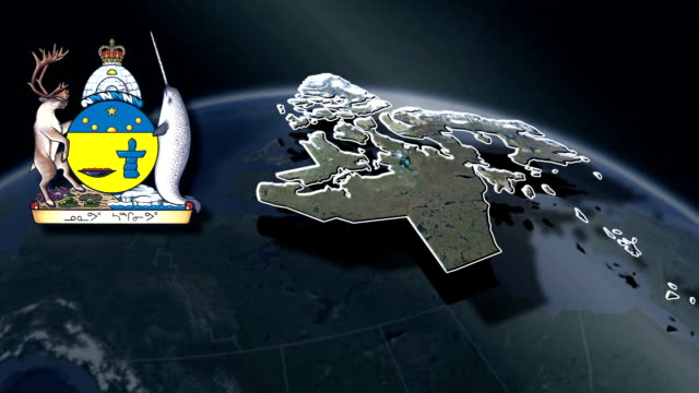 Nunavut white Coat of arms animation map video