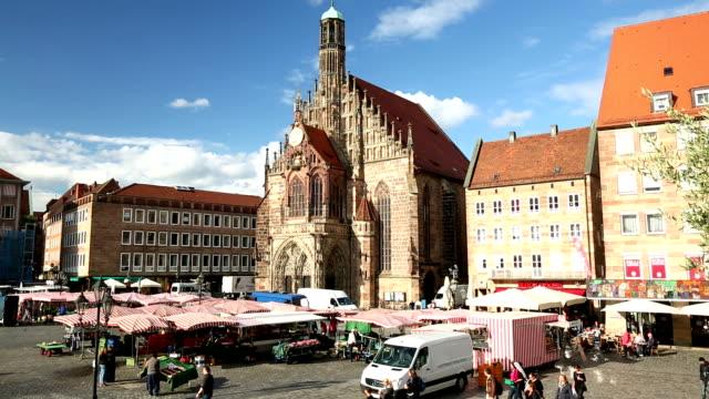Nuremberg market with frauenkirche video