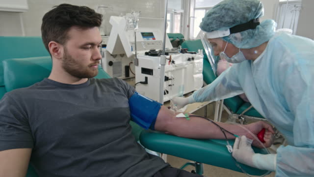 vídeos de stock e filmes b-roll de nurse drawing blood from donor at hospital - blood donation