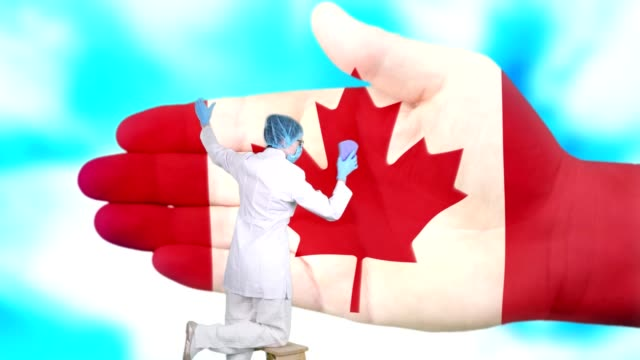 Nurse in medical mask and gloves washes large hand, painted in colors of Canada flag. State care for nation health. Wash your hands concept. Viruses protection. Diseases prevention - vídeo