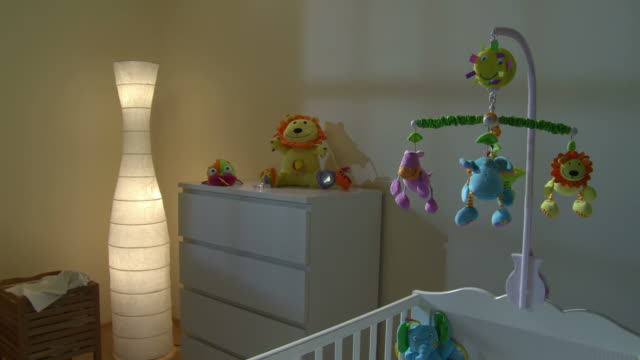 HD CRANE: Nursery Room At Night video
