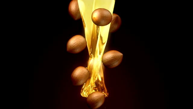 Nut oil from nature 3d animation presents Nut oil from nature. cooking oil stock videos & royalty-free footage