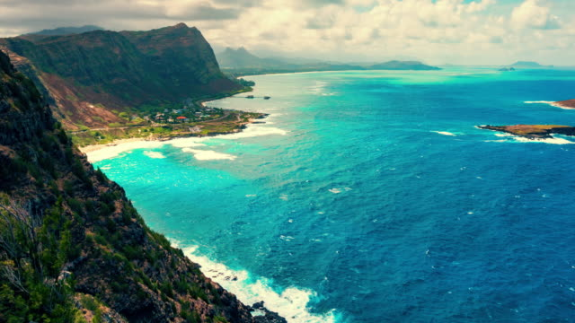 Oahu Shoreline View From Above Cliff Timelapse a time lapse on the lighthouse trail looking over into the shoreline oahu stock videos & royalty-free footage