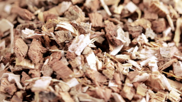 Oak bark loose on table Bulk shredded oak bark chemist plant bark stock videos & royalty-free footage