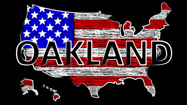 Oakland Animation. USA the name of the country. Coloring the map and flag. Oakland Animation. USA Coloring the map and flag. Motion design. california map stock videos & royalty-free footage