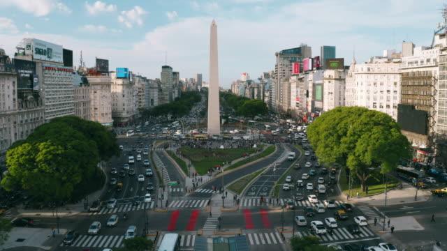buenos aires hava görünümü obelisco - obelisk stok videoları ve detay görüntü çekimi