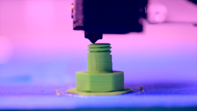 Objects printed by 3d printer. Fused deposition modeling FDM. video