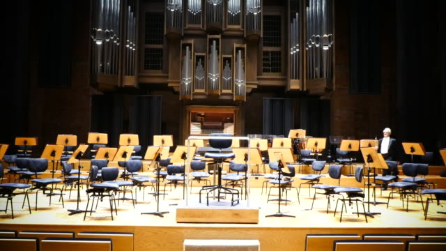 Oboe player in a beautiful concert hall.