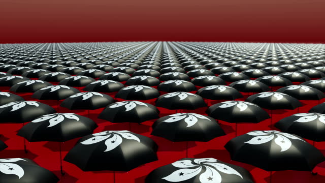 Occupy Central sombrilla revolución negro/visualización/Recorrido tridimensional - vídeo