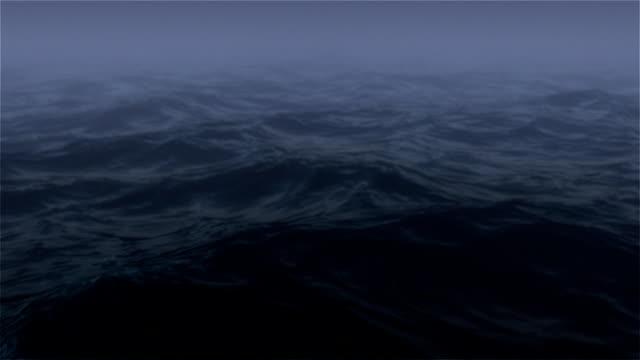 oceano di notte con nebbia - ruvido video stock e b–roll