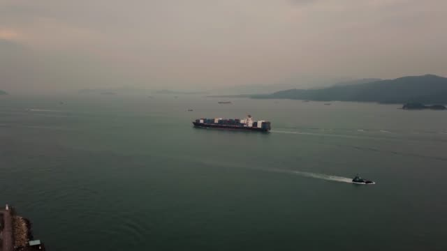 Ocean Container Ship in Hong Kong.