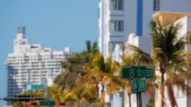 ocean drive and 8th st - art deco architecture stock videos & royalty-free footage