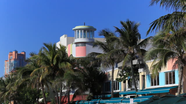 ocean drive in miami beach - art deco architecture stock videos & royalty-free footage