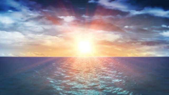 Ocean Sunset and Clouds (Loop) video