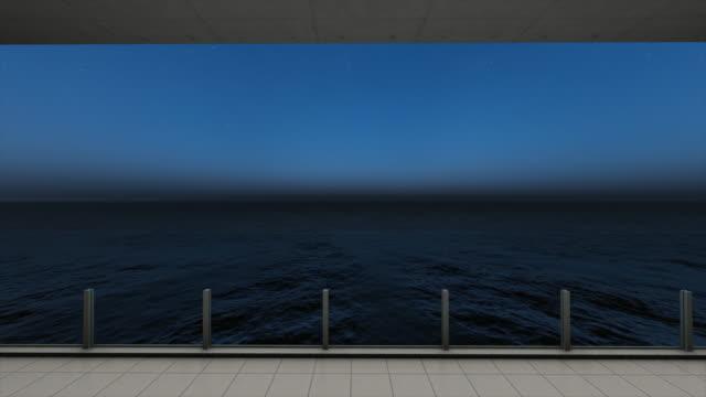 海のバルコニーからの海の景色、夕日のストックビデオ - デッキ点の映像素材/bロール